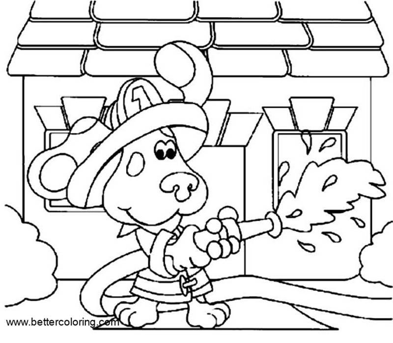 Free Blue's Clues Coloring Pages Fireman printable
