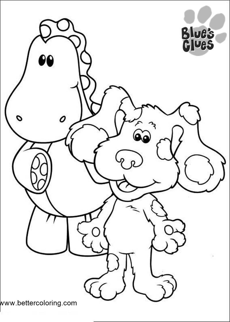 Free Blue's Clues Coloring Pages Puppy and Dinosaur printable