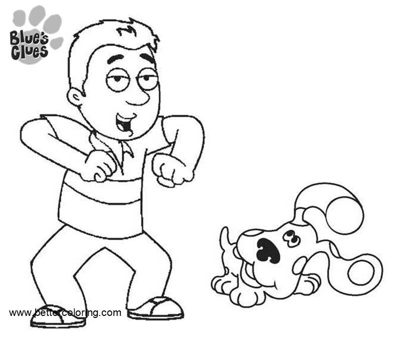Blues Clues Coloring Pages Steve Play with Puppy - Free ...