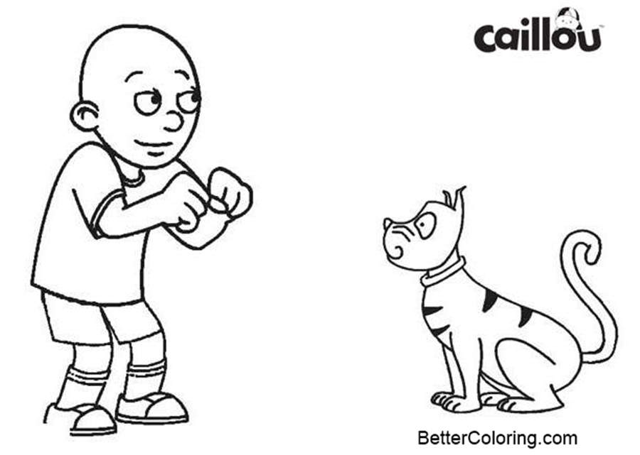 Free Caillou Coloring Pages Dog Gilbert printable