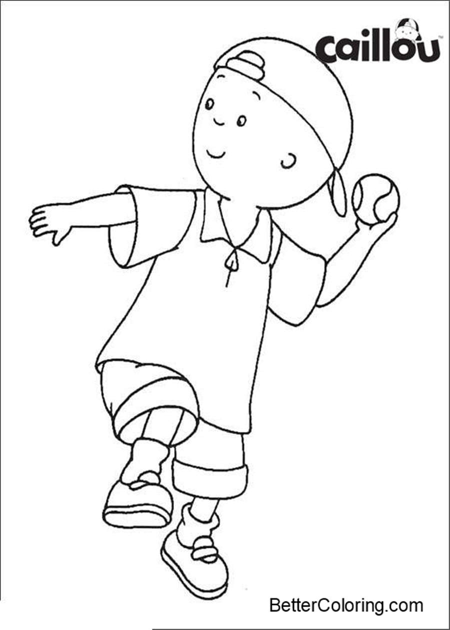 Caillou Coloring Pages Got A Baseball Free Printable