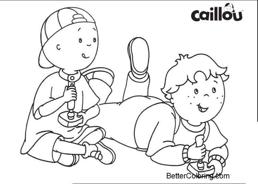 Caillou Coloring Pages Play Baseball - Free Printable Coloring Pages