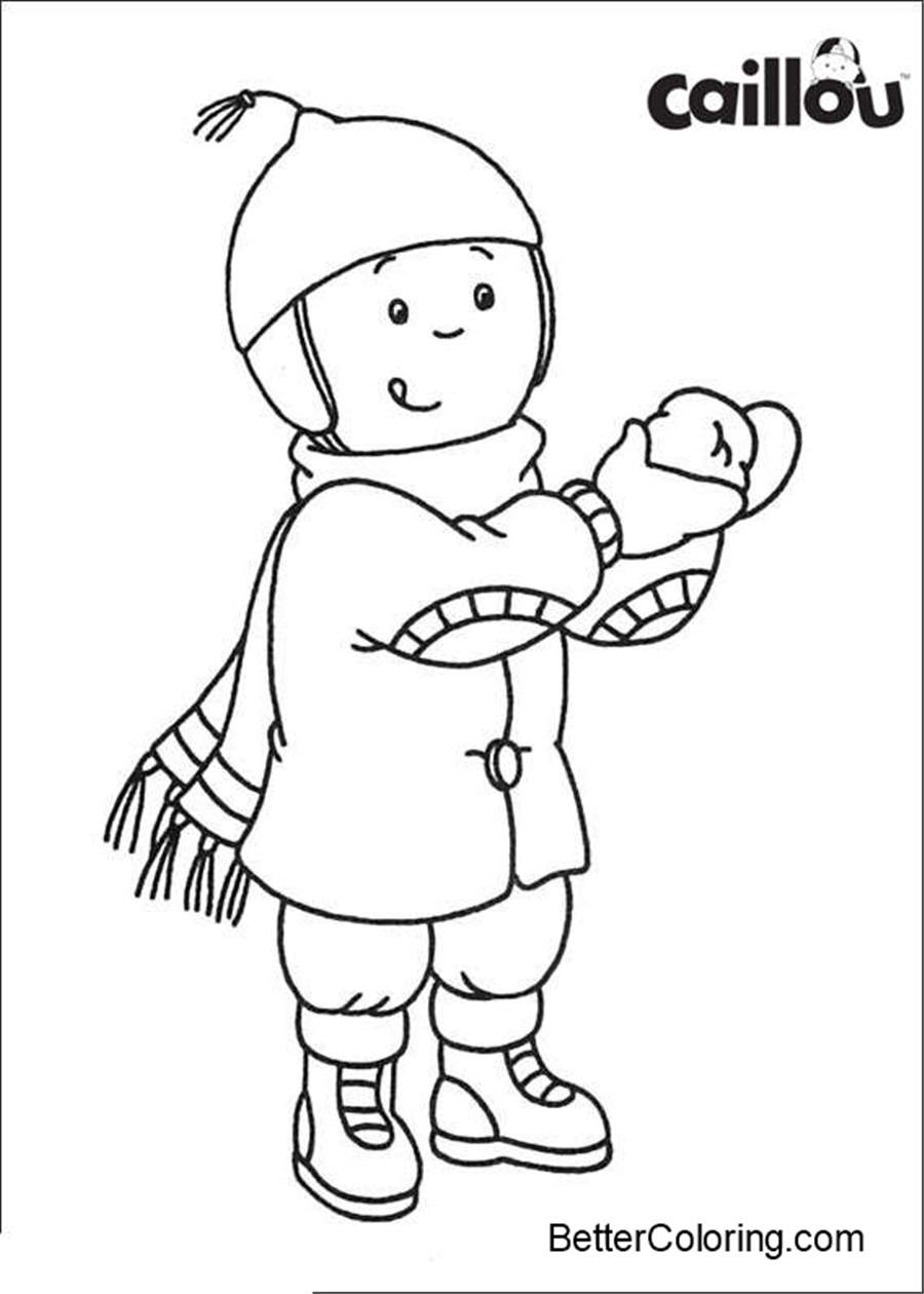Free Caillou Coloring Pages Play in Winter printable