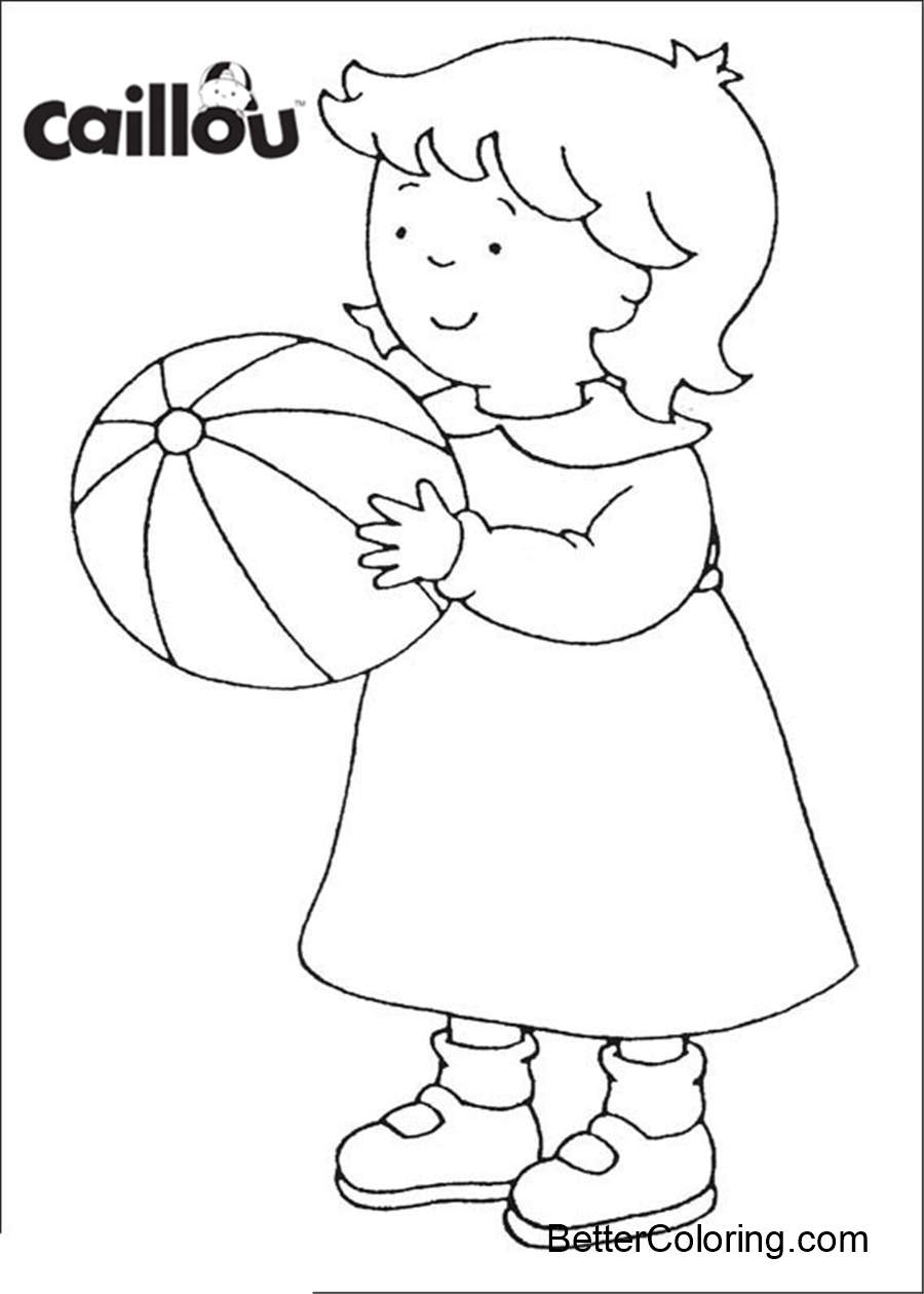 Free Caillou Coloring Pages Play the Ball printable