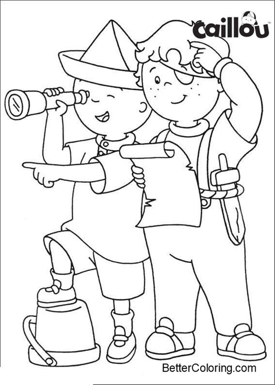Caillou Coloring Pages Play with