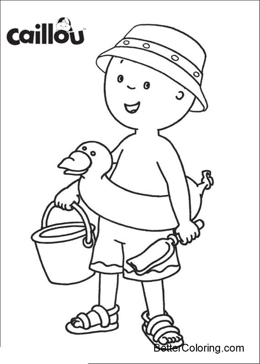Caillou Coloring Pages Printable Go to Beach - Free ...