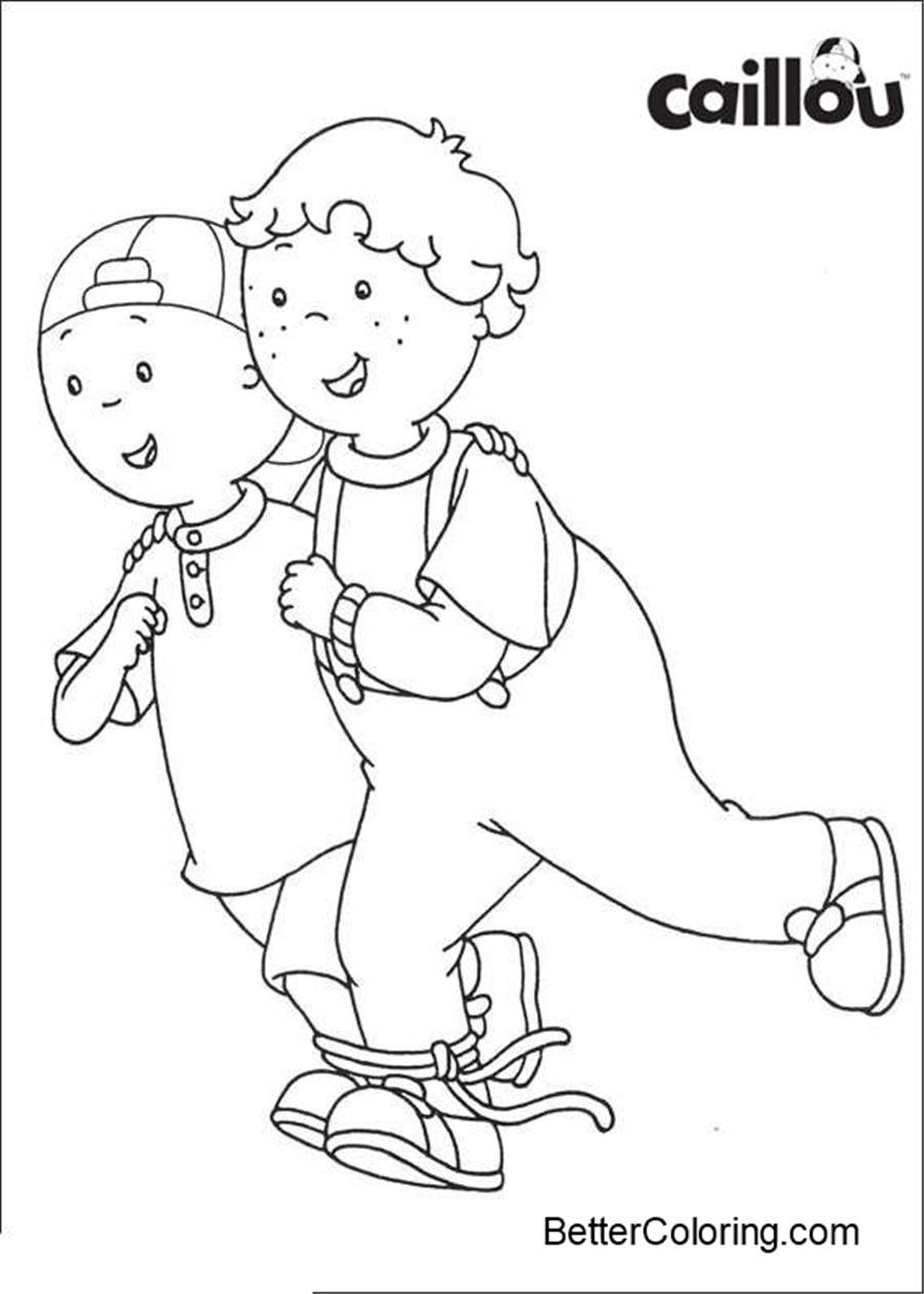 Free Caillou Coloring Pages Skating printable