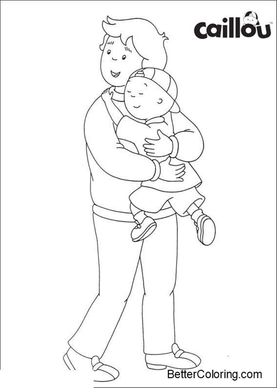 Free Caillou Coloring Pages and His Dad printable