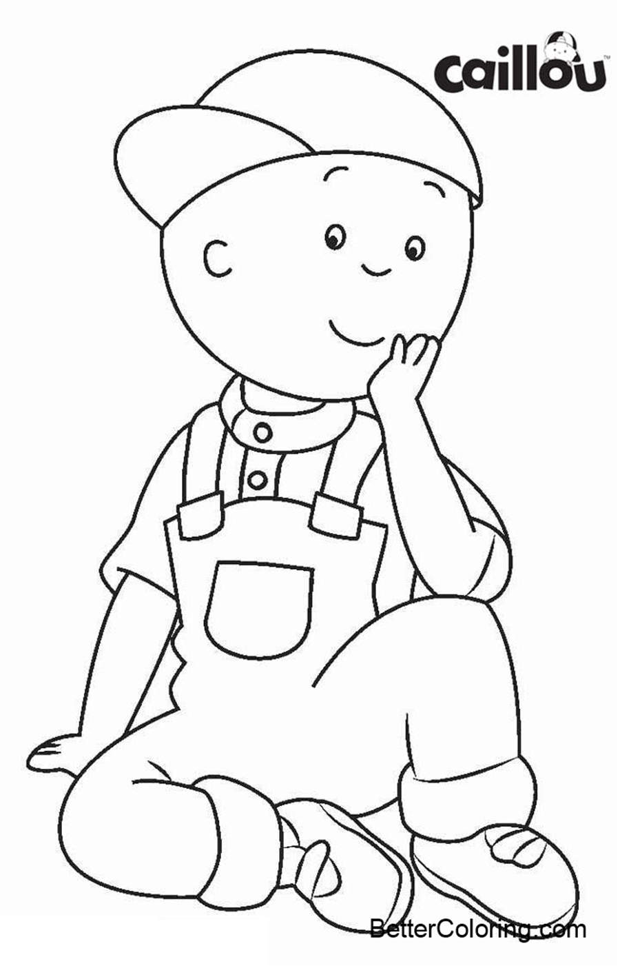 Free Caillou Coloring Pages in Hat printable