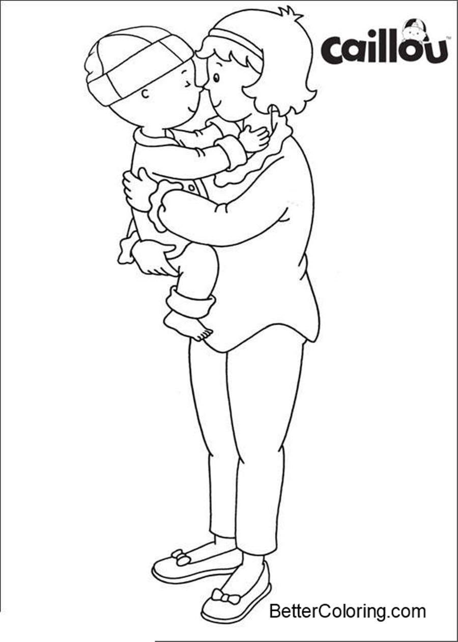 Free Caillou Coloring Pages with Mom printable