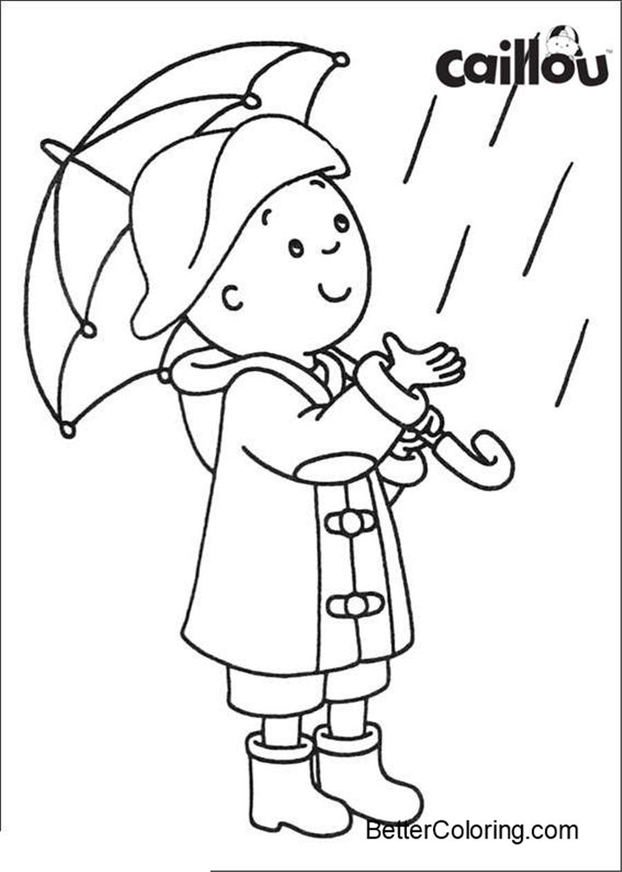 Free Caillou Coloring Pages with Umbrella printable