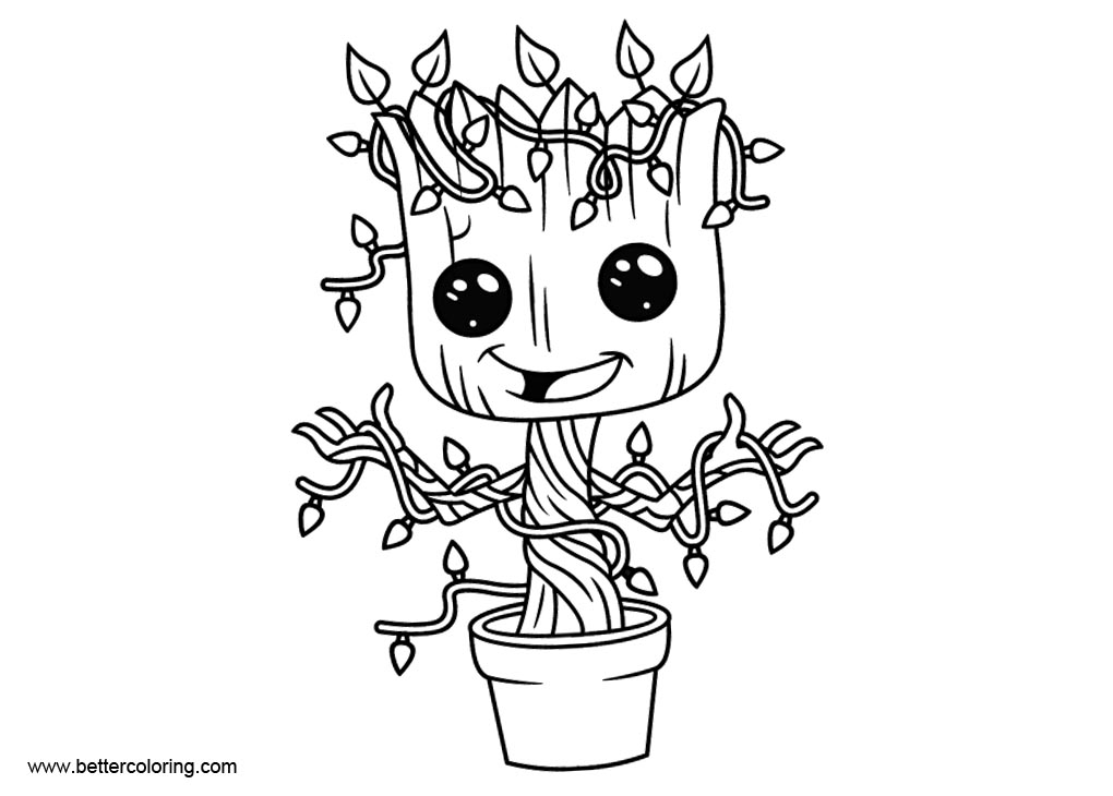 Christmas Baby Groot Coloring Pages Free Printable