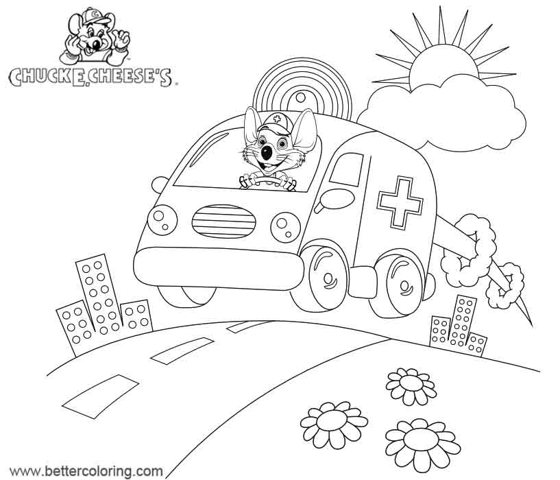 Free Chuck E Cheese Coloring Pages Ambulance printable