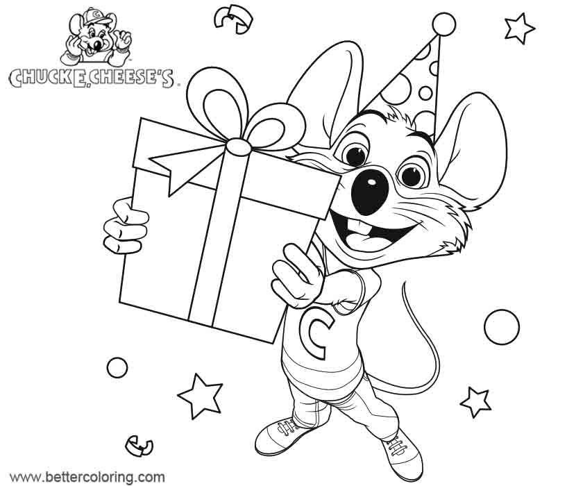 Free Chuck E Cheese Coloring Pages Birthday Gift printable