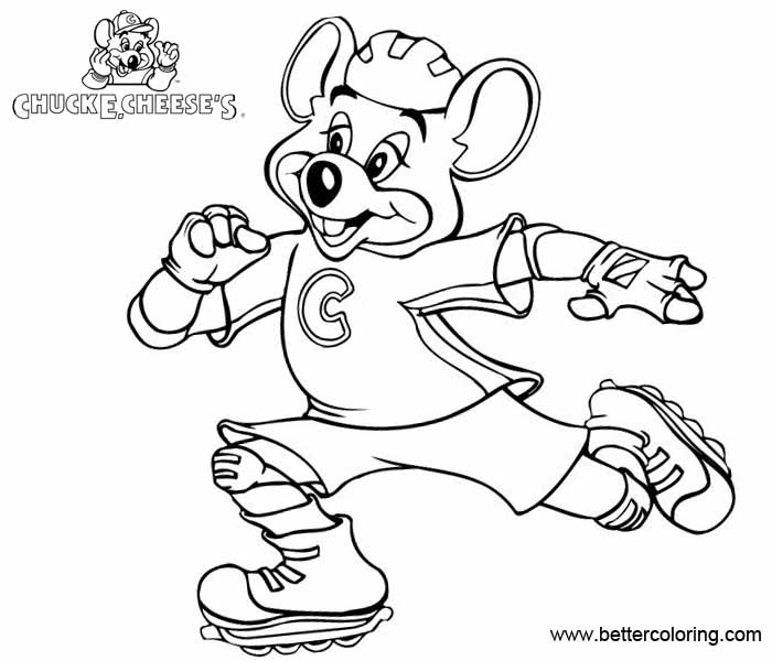 Free Chuck E Cheese Coloring Pages Roller Skating printable