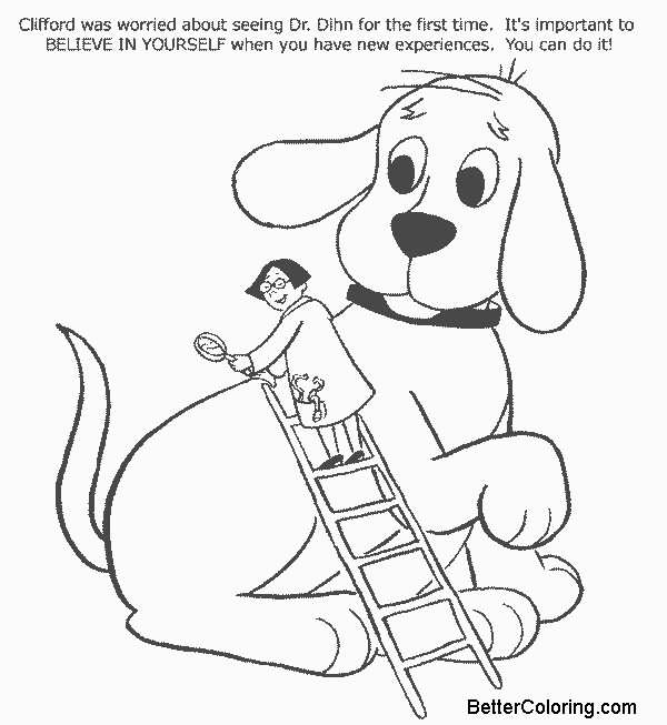 Free Clifford Coloring Pages Believe Line Art printable