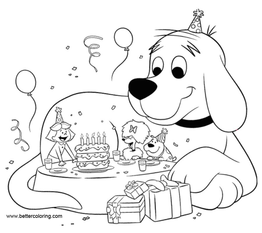 Clifford Coloring Pages Happy Birthday