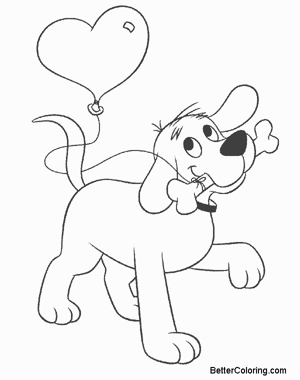 Clifford Coloring Pages Heart Balloon Free Printable Coloring Pages