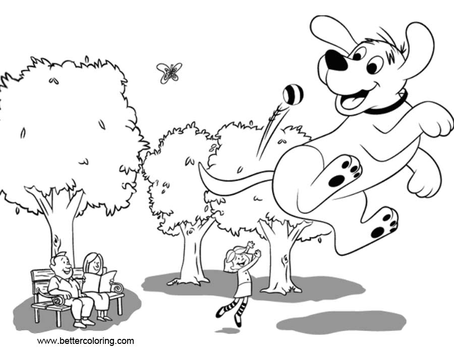 Free Clifford Coloring Pages Play Ball printable