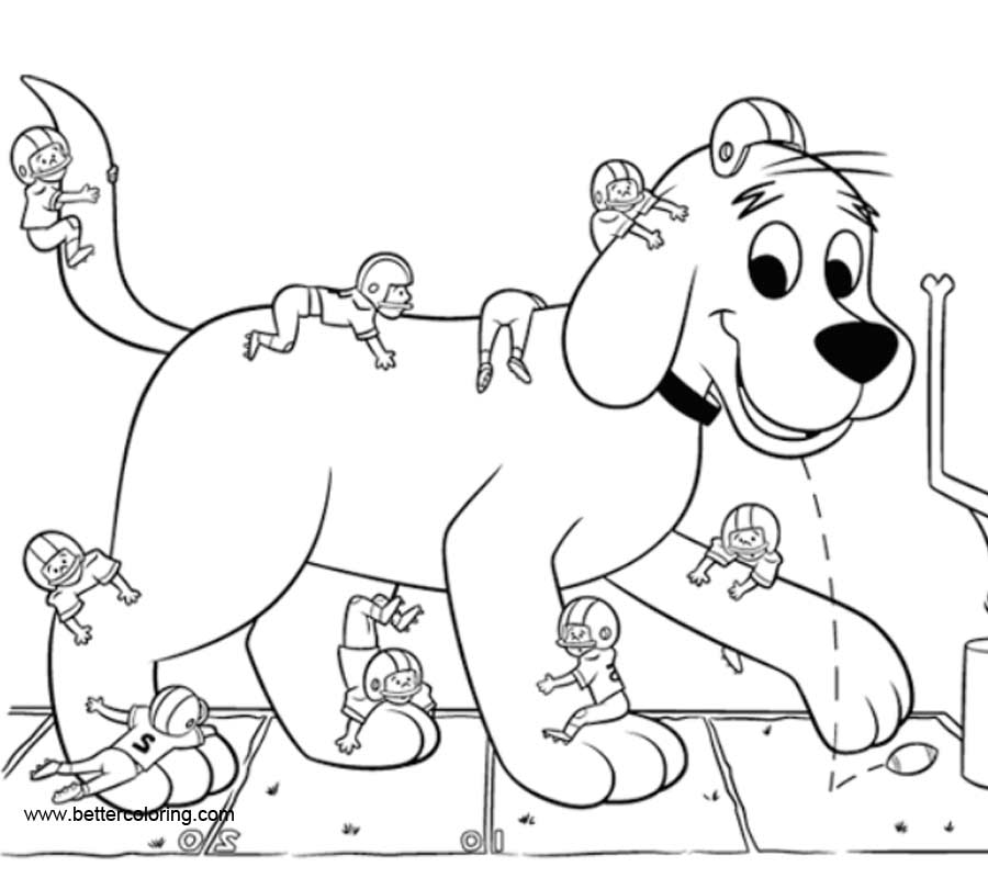 Free Clifford Coloring Pages Play Football printable