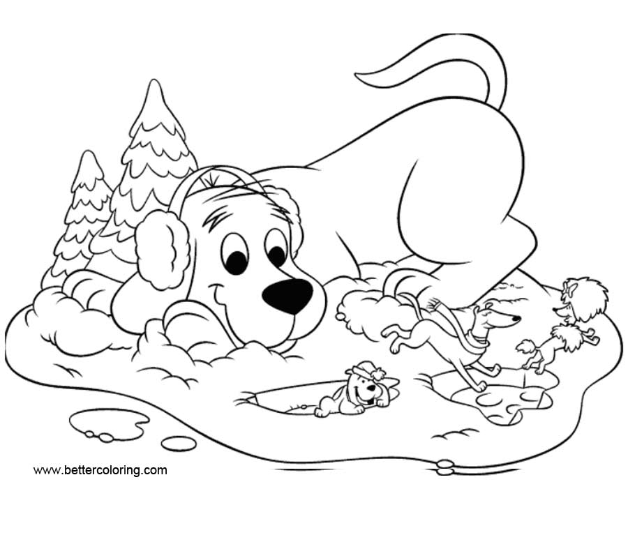 Clifford Coloring Pages Snow - Free Printable Coloring Pages