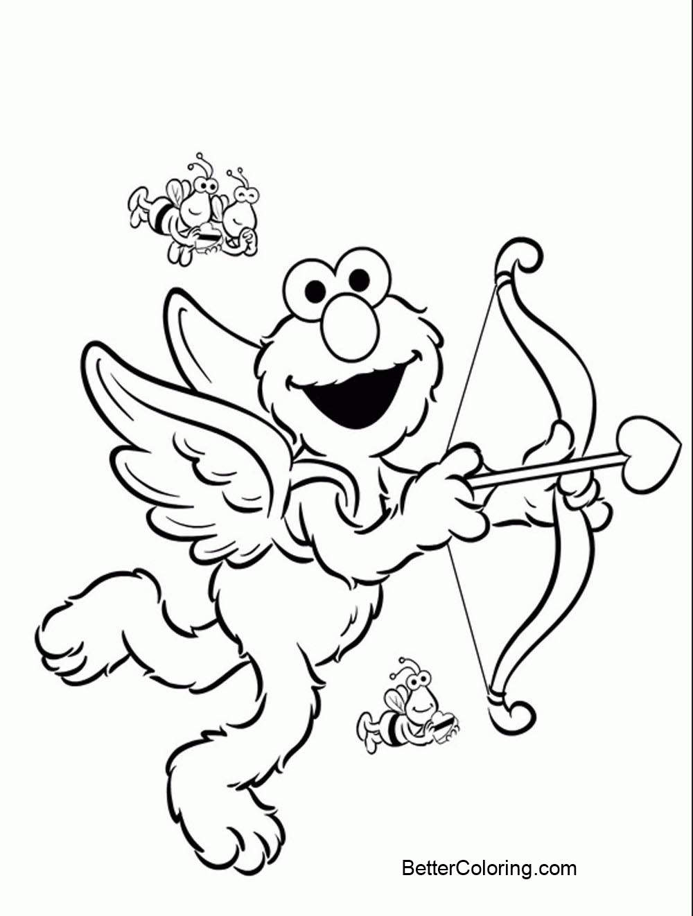 Free Cupid Elmo Coloring Pages printable