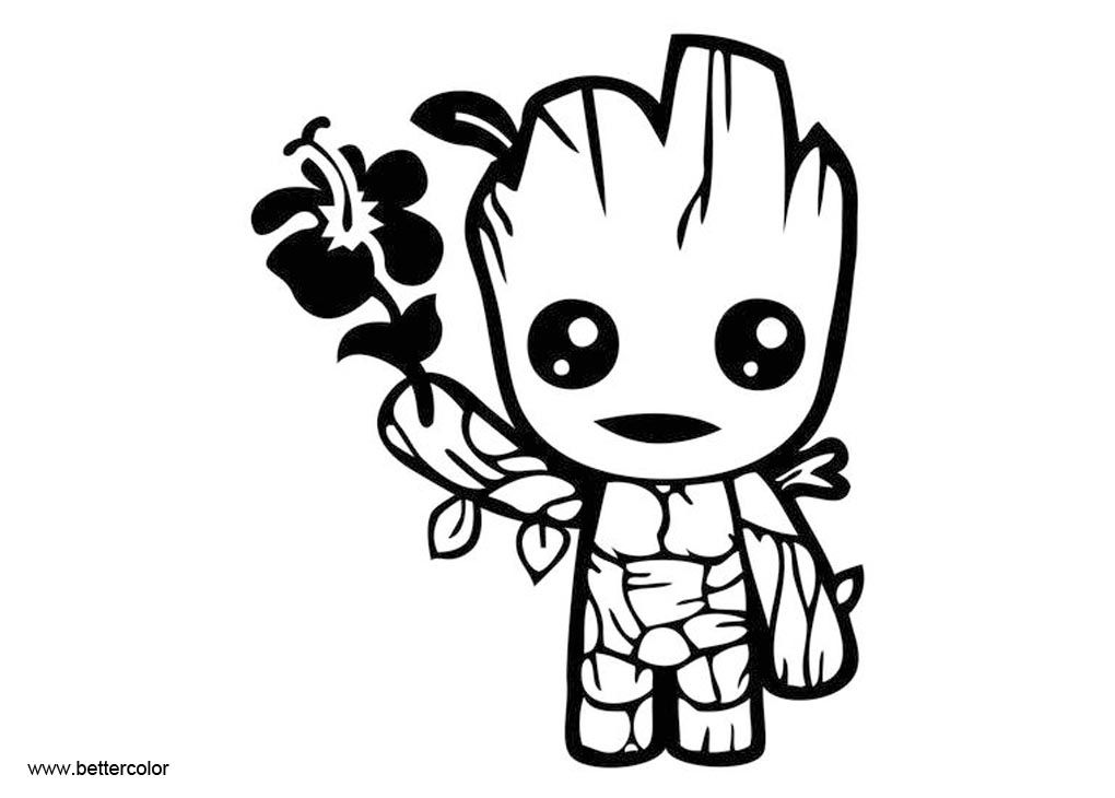 Cute Baby Groot Coloring Pages