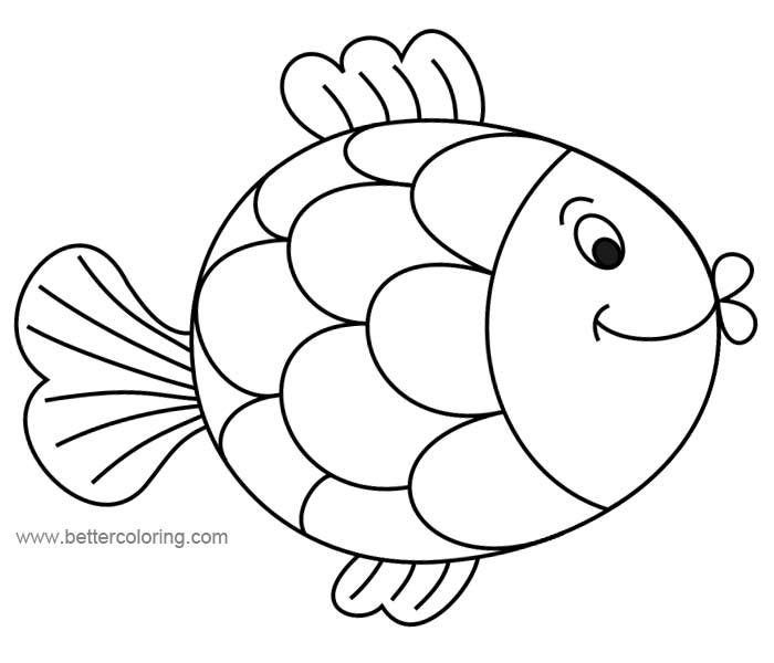 Cute Cartoon Rainbow Fish Coloring Pages Free Printable Coloring Pages