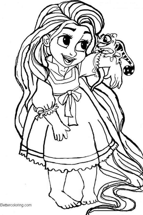 Free Cute Disney Princess Coloring Pages Tangled printable