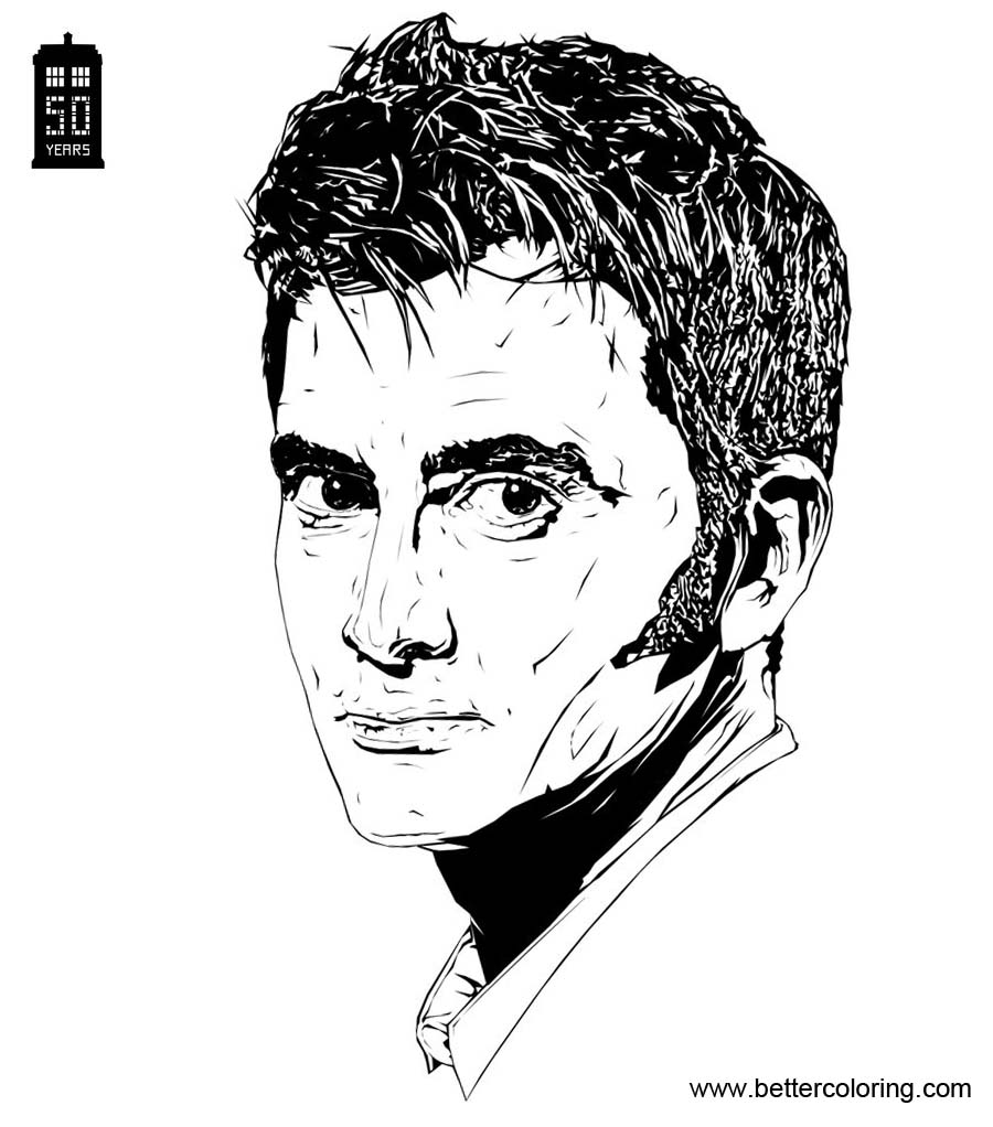Free David Tennant from Doctor Who Coloring Pages printable