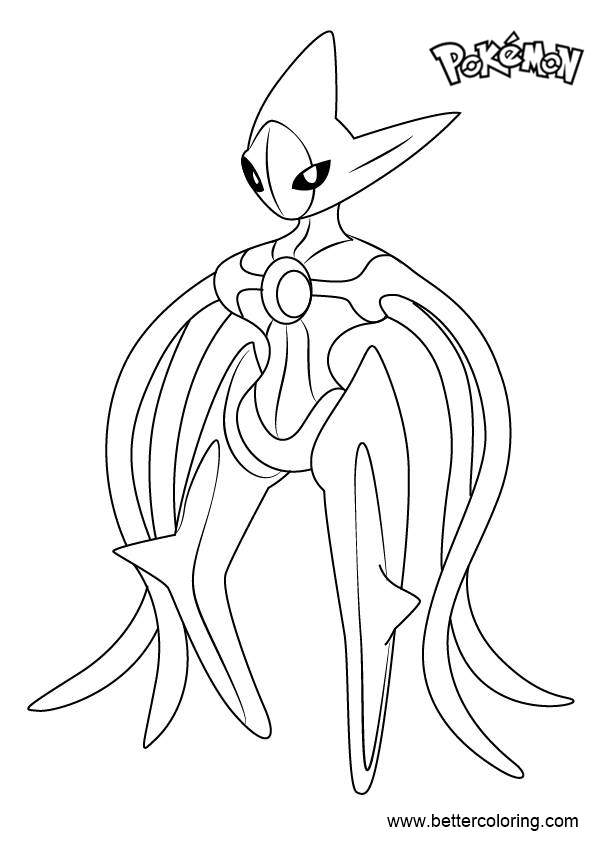 Pokemon coloring pages deoxys ~ Deoxys from Pokemon Coloring Pages - Free Printable ...
