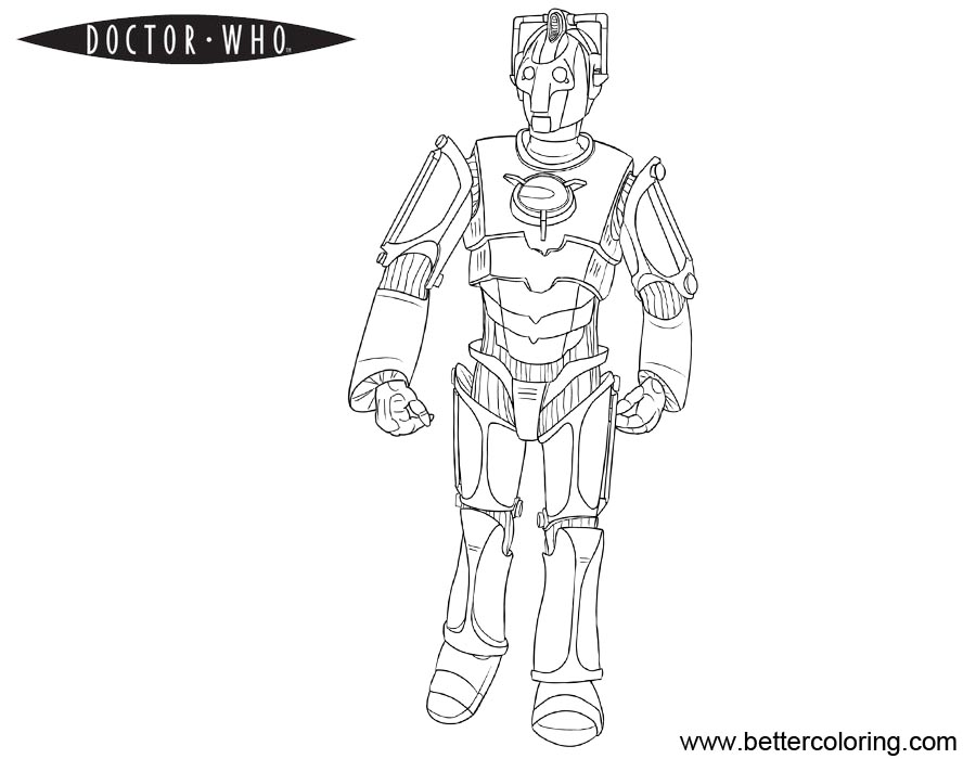 Free Doctor Who Coloring Pages Robot Line Art printable