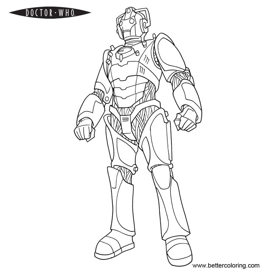 Doctor Who Coloring Pages Who Cyberman - Free Printable Coloring Pages
