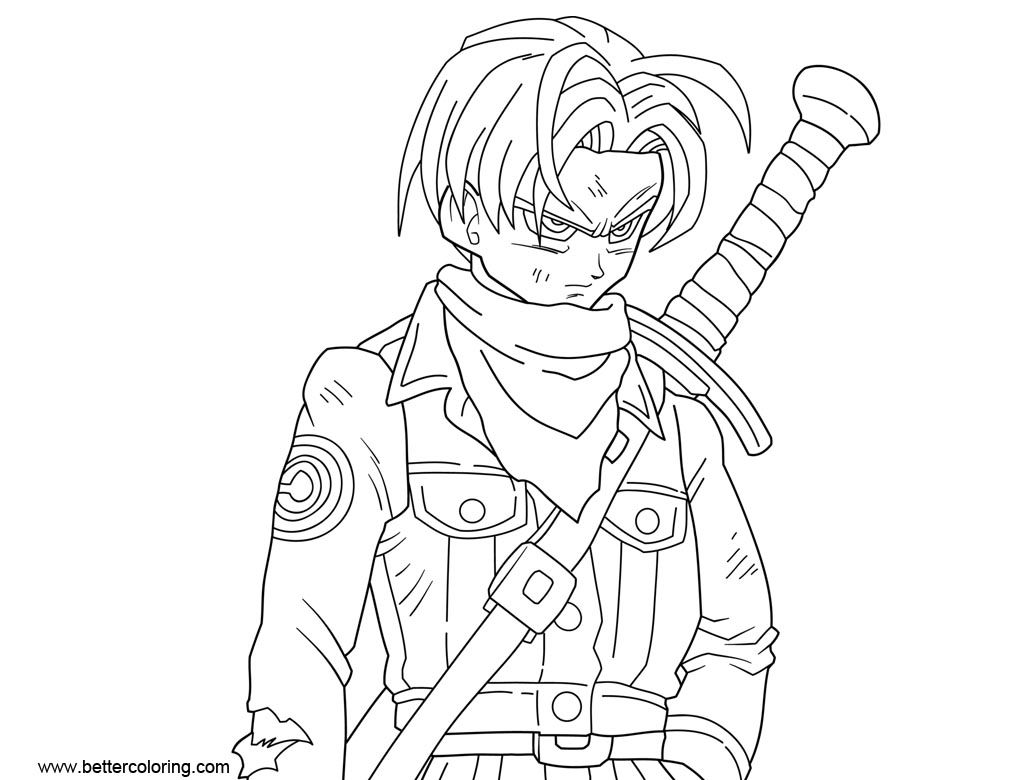 Free Dragon Ball Super Coloring Pages Mirai Trunks printable