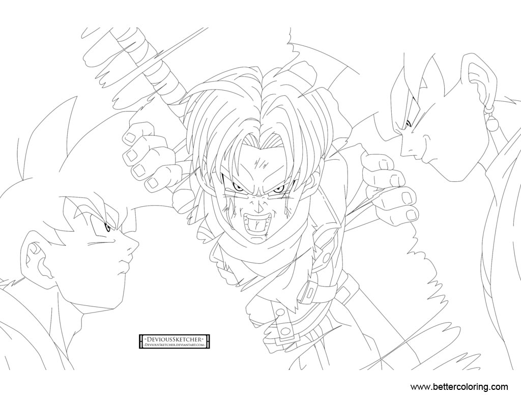 Dragon Ball Super Coloring Pages Tears Between Time Free Printable