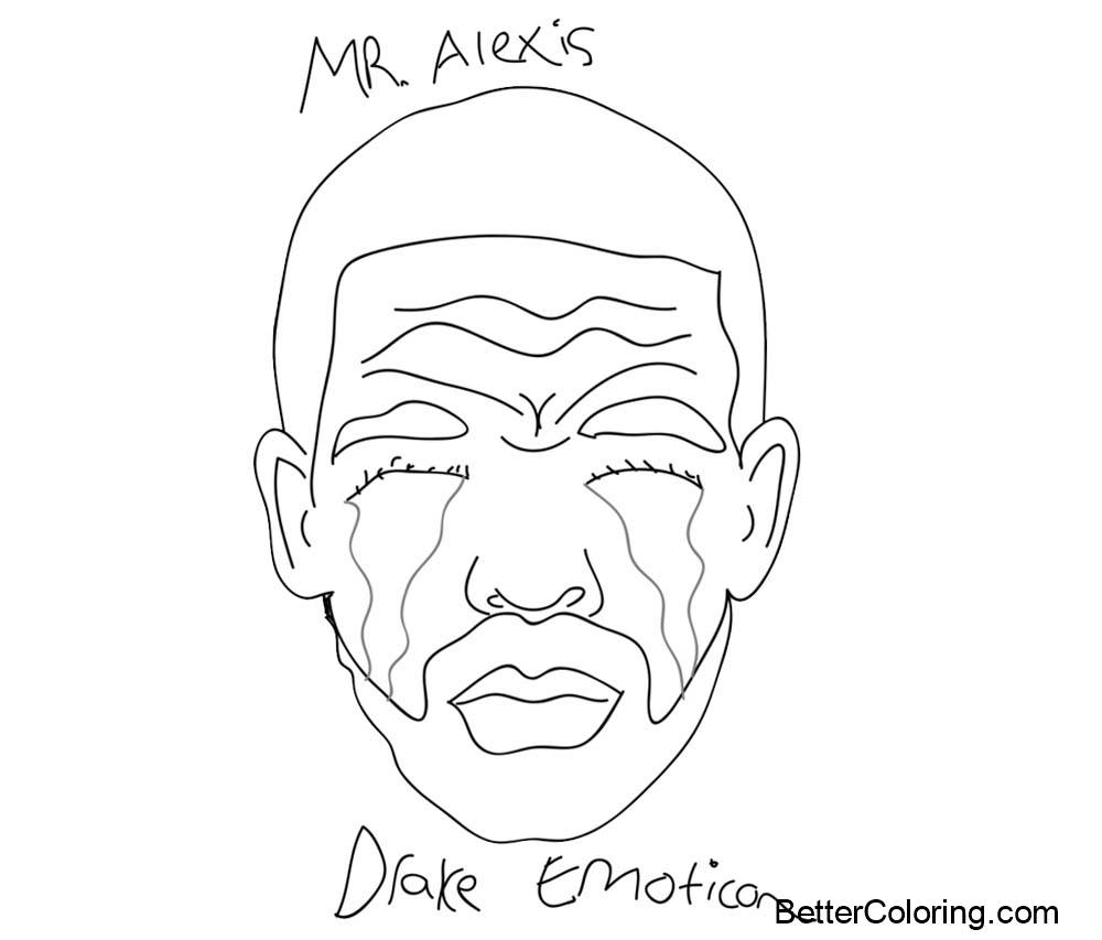 Drake Coloring Pages Emotion - Free Printable Coloring Pages