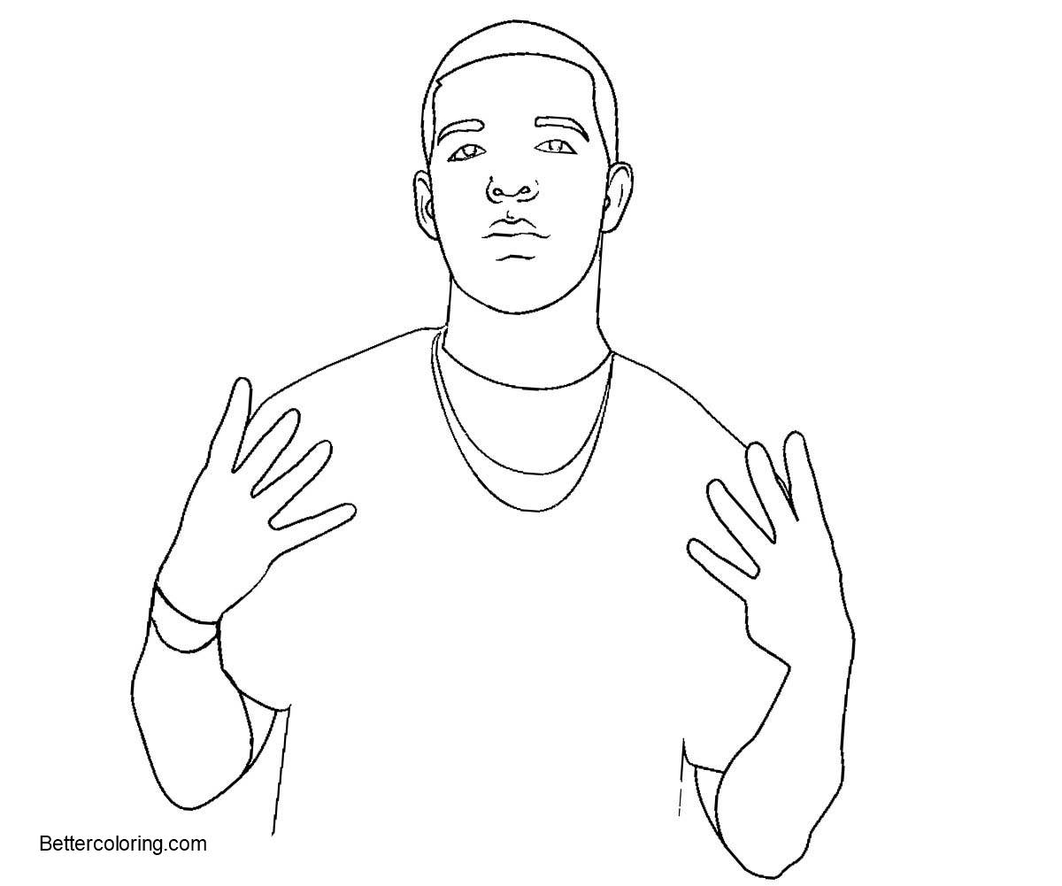 Free Drake Coloring Pages Simple Drawing printable