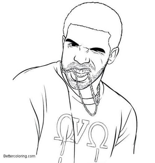Drake Coloring Pages with Necklace Free Printable