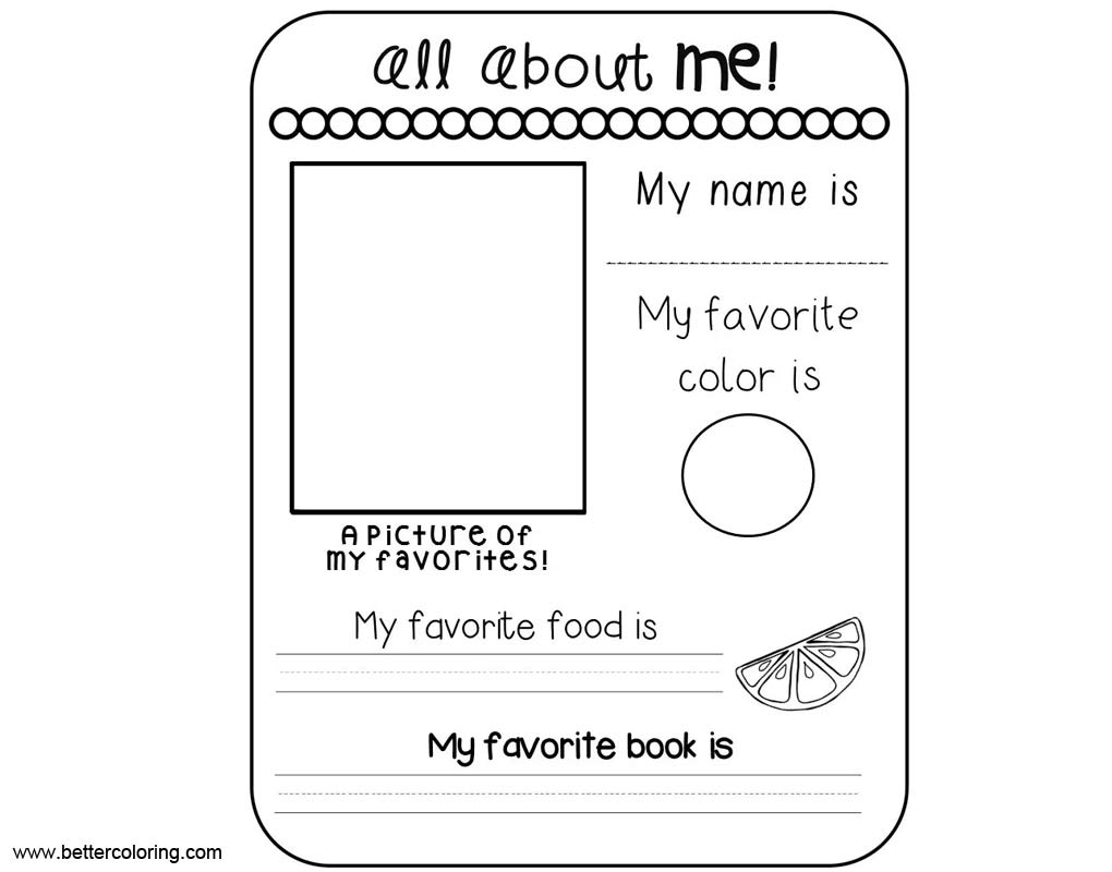 Easy All About Me Worksheets Coloring Pages Free Printable