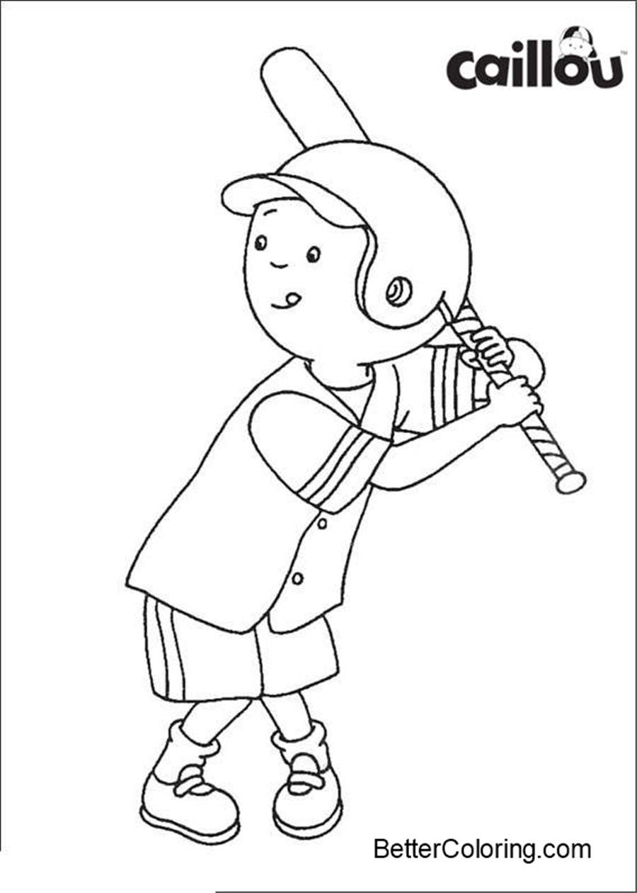 Easy Caillou Coloring Pages Baseball Free Printable Coloring Pages