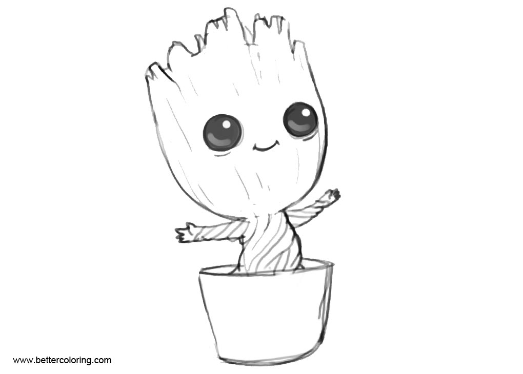 Easy Coloring Pages of Baby Groot Free Printable