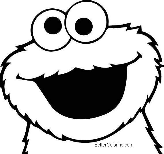 Free Elmo Coloring Pages Cookie Monster Face Drawing printable