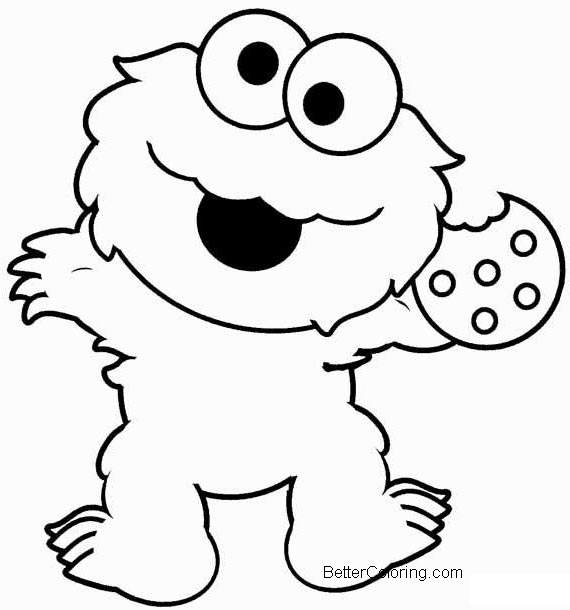 Elmo coloring pages cookie monster free printable for Cookie monster coloring pages printable