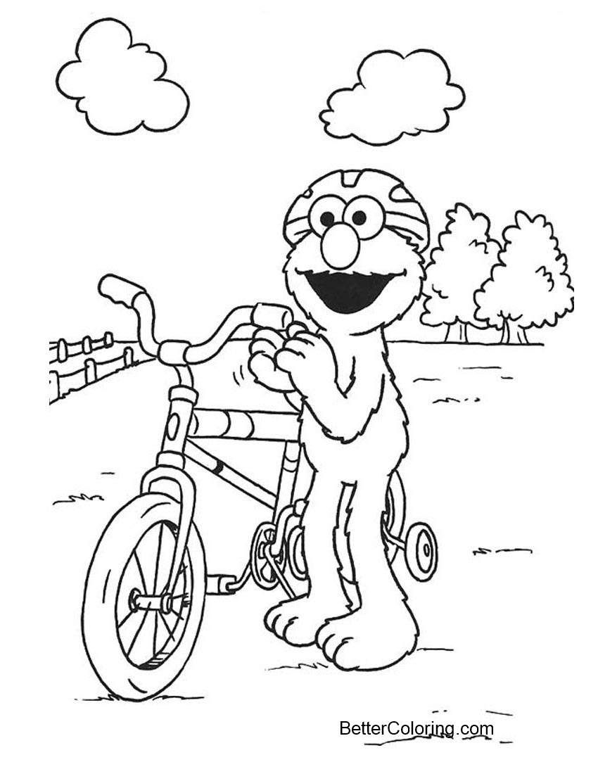 Elmo Coloring Pages Cycling - Free Printable Coloring Pages