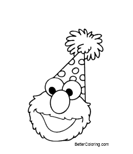 Free Elmo Coloring Pages Elmo in Christmas Hat printable