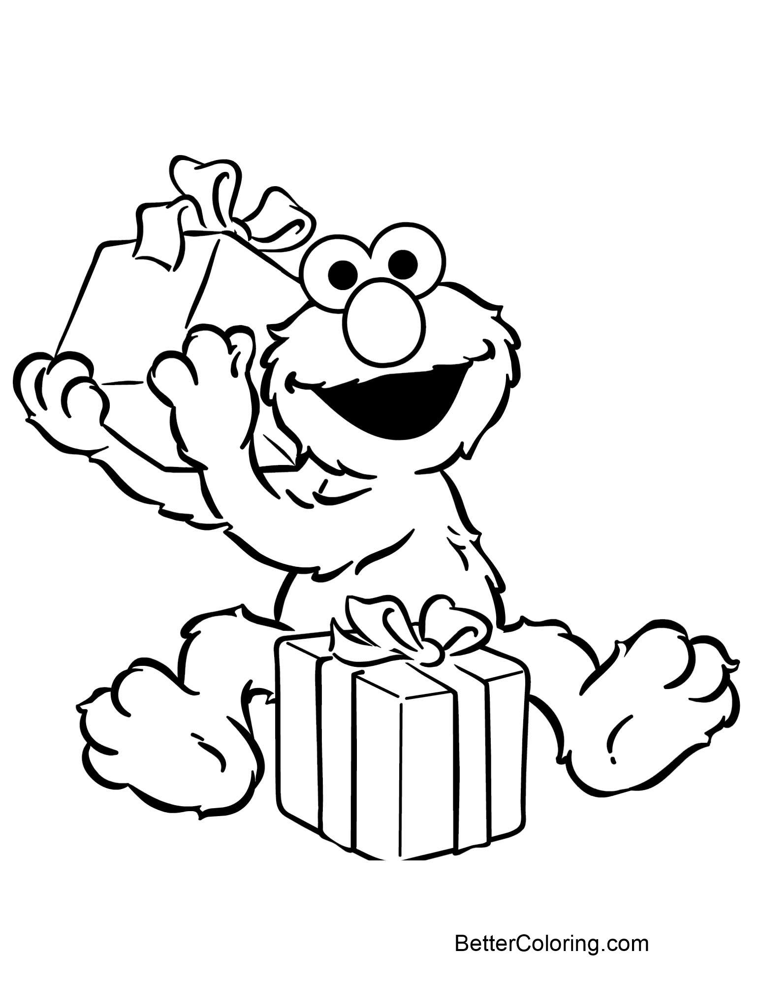 Elmo Coloring Pages Open Gift Box - Free Printable Coloring Pages