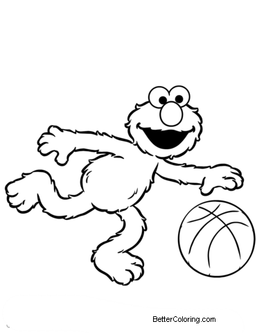 Free Elmo Coloring Pages Plays Basketball printable