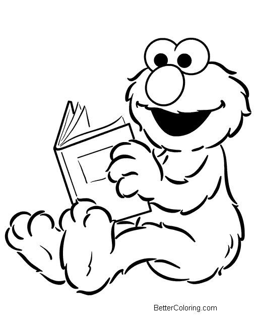 Elmo Coloring Pages Reading Book - Free Printable Coloring ...