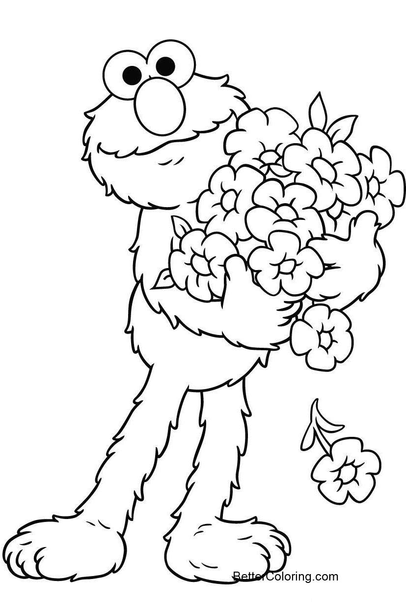 Elmo Coloring Pages and FLowers - Free Printable Coloring Pages