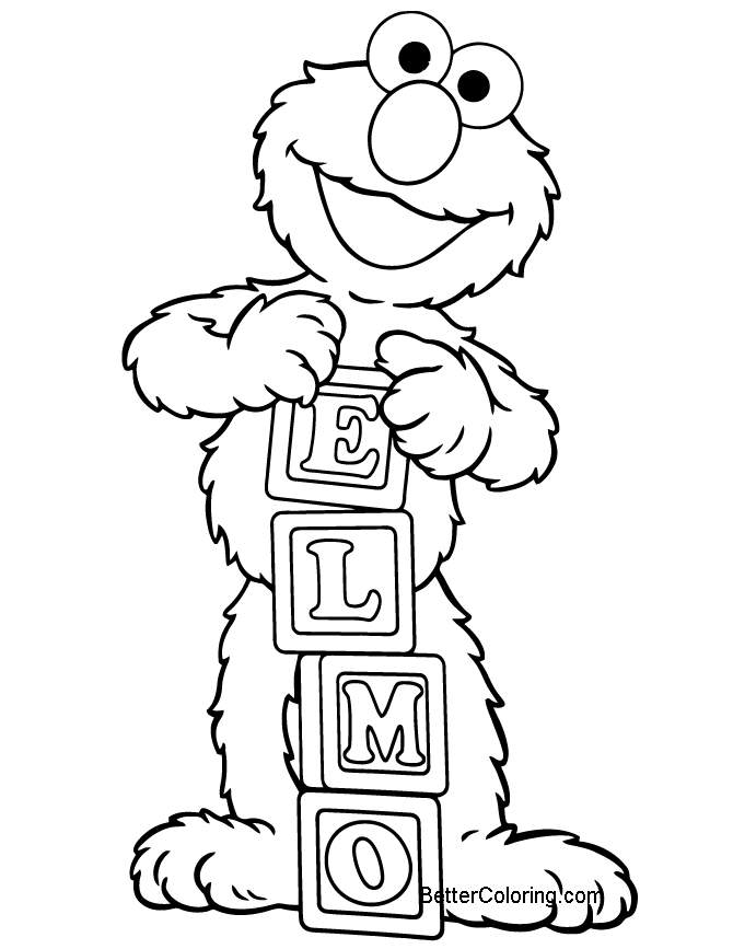 Free Elmo Coloring Pages and His Name printable